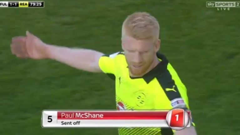 WATCH: Paul McShane sent off for horror challenge and now misses most important game