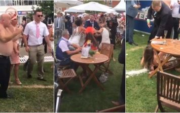 Punches thrown and woman sent sprawling in chaotic brawl at Royal Ascot