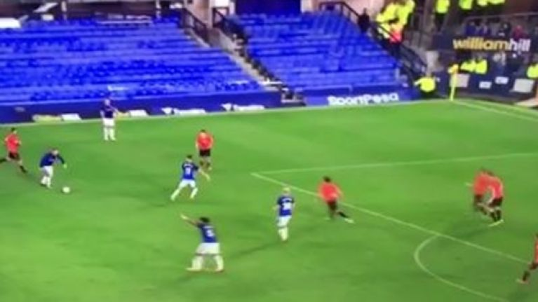 Five seconds that pretty much sum up Wayne Rooney's European debut for Everton
