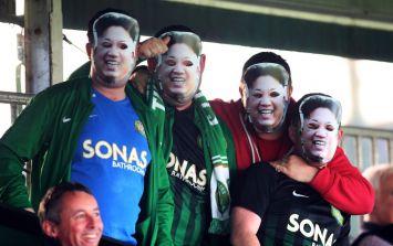 Bray Wanderers fans wore these Kim Jong-un masks to Finn Harps match