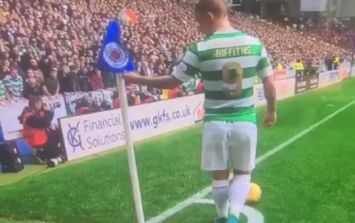 Rangers fans are not happy with what Leigh Griffiths did to corner flag at Ibrox
