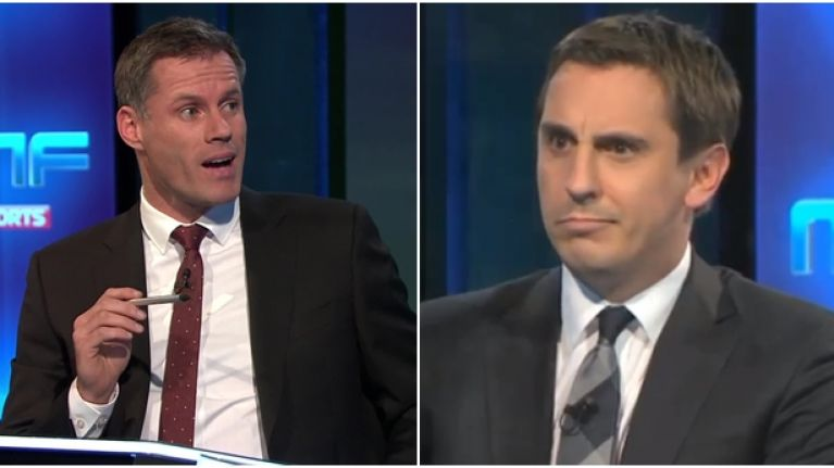 Jamie Carragher has brilliant Mike Dean comeback to Gary Neville's latest Twitter jibe