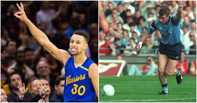 WATCH: Steph Curry is absolutely awful at GAA free-kicks