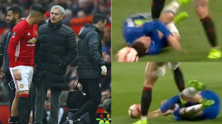 Calls for ban for Marcos Rojo as defender appears to stamp on Eden Hazard