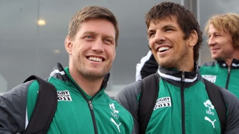 Ronan O'Gara and Donncha O'Callaghan nearly fell out...over a wash bag