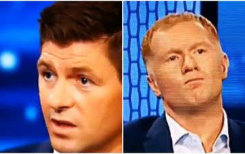 Paul Scholes looked like he was dying to laugh at Steven Gerrard during Champions League coverage