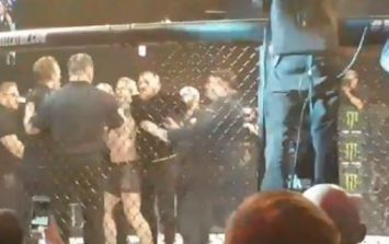 Conor McGregor leaps into cage and confronts referee who warned him in Gdansk