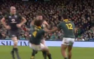Iain Henderson absolutely flattens South African captain with seismic shoulder barge