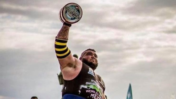 WATCH: 7-foot-tall county Down giant throws around 92kg dumbbell at Strongman finals