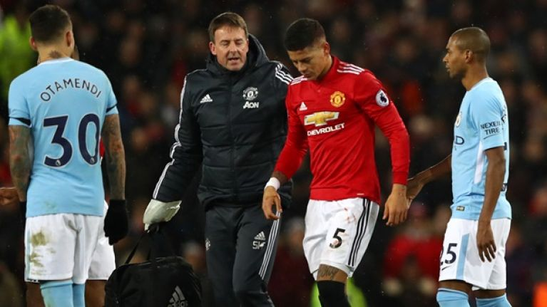 Marcos Rojo's head wound from Manchester derby clash is not for the squeamish