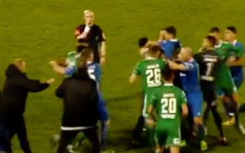 WATCH: Incredible scenes at the RSC as Waterford and Cork City players brawl during injury-time