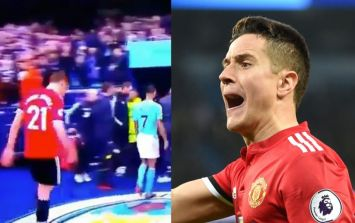 WATCH: Ander Herrera appears to spit on Man City badge as he leaves Etihad pitch