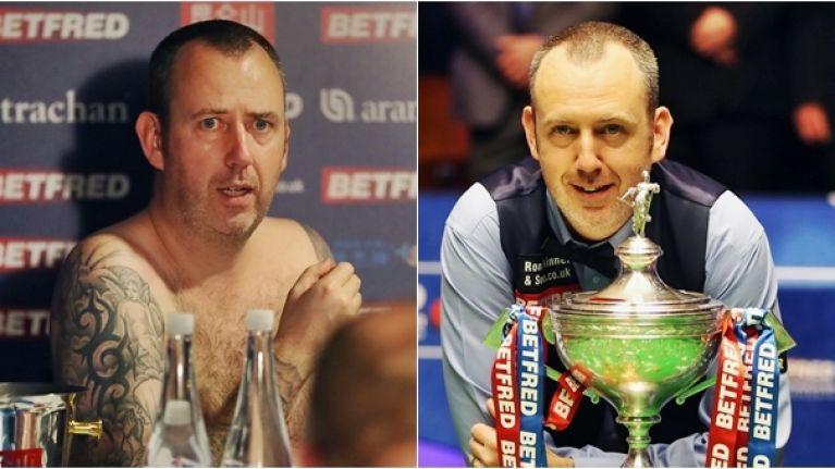 Snooker world champion Mark Williams lives up to naked press conference vow