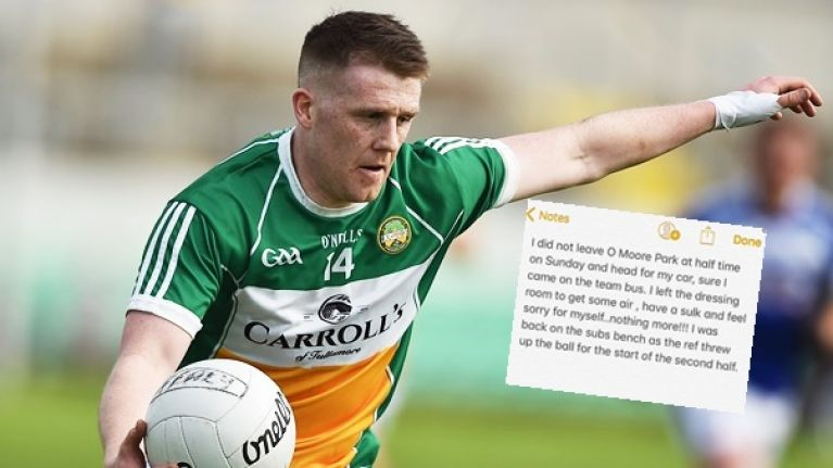 Offaly footballer responds to claims that he left dressing room for his car at half-time