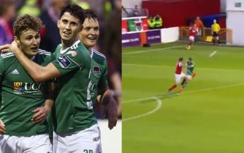 League of Ireland star Kieran Sadlier scores goal from inside his own box
