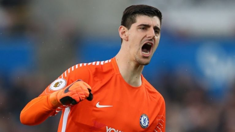 Thibaut Courtois tries to make things right with Jordan Pickford