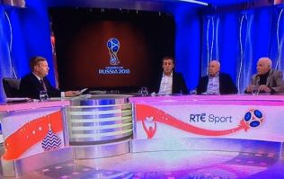 Eamon Dunphy startled after light explodes in RTE studio