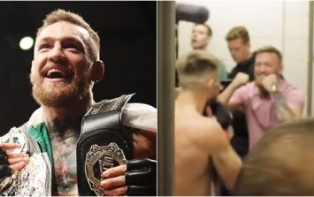 WATCH: Conor McGregor surprises Cian Cowley in his dressing room after victory
