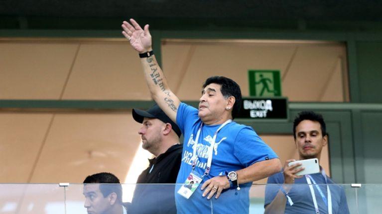 It looks like Diego Maradona enjoyed Argentina's winner against Nigeria