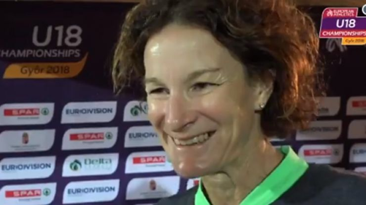 Ecstatic parent Sonia O'Sullivan celebrates her daughter Sophie's silver medal