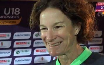 Ecstatic parent Sonia O'Sullivan celebrates her daughter Sophie's silver medal