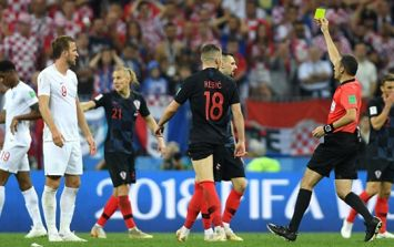 England fans are convinced that Croatian forward was booked twice in semi-final
