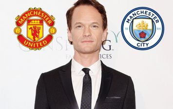 Neil Patrick Harris wears Manchester City jersey but cheers for Manchester United