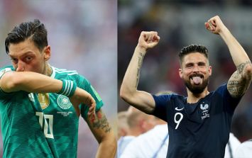 Olivier Giroud clearly never forgot Mesut Ozil's World Cup jibes