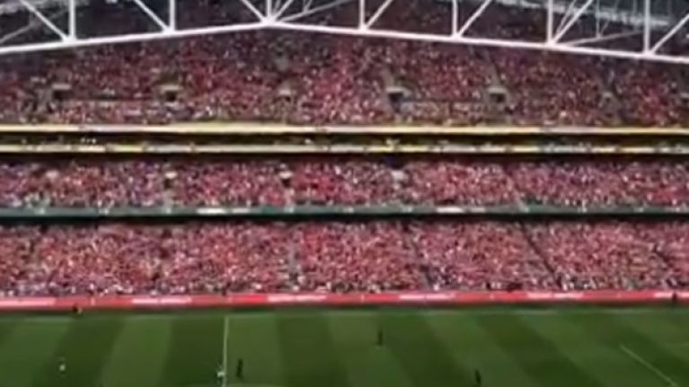 Liverpool fans sing deafening rendition of 'You'll Never Walk Alone' at the Aviva Stadium