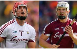 James Skehill saves with the back of his helmet and then Joe Canning does what he always does