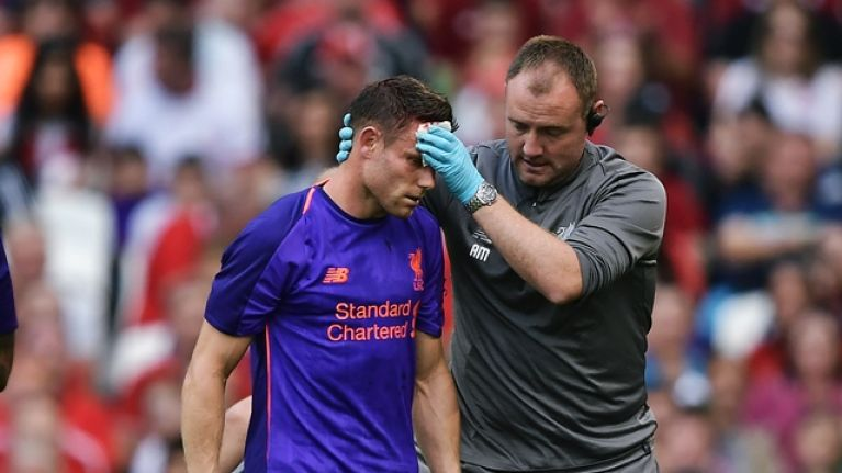 James Milner shows off gruesome gash after collision in Dublin friendly