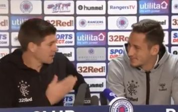 Scottish accent proves too much for Rangers defender so Steven Gerrard helps out