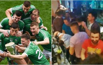 Limerick hurlers hand out free drinks from behind jam-packed bar