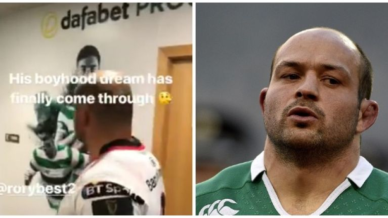 Johnny Sexton rinses Rory Best as he walks through Celtic Park