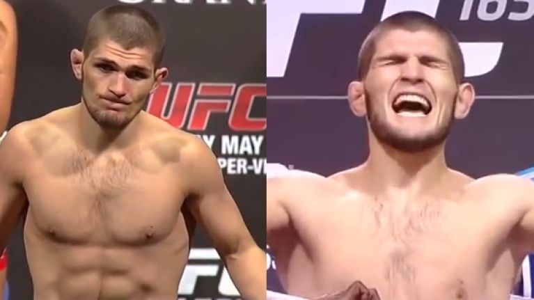 How Khabib Nurmagomedov looked every time he stood on the UFC's scales