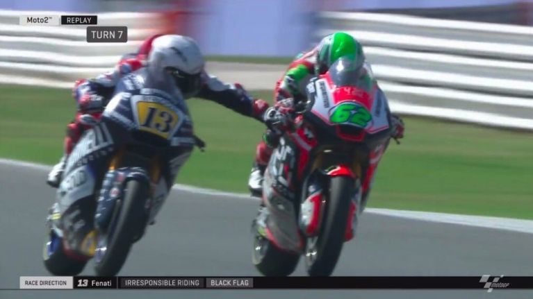 Moto2 driver disqualified after pulling opponent's brake at 140mph