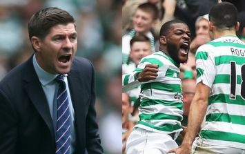 Steven Gerrard goes after the referee following defeat to Celtic