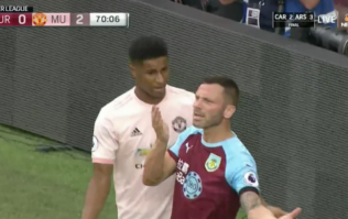Marcus Rashford shown straight red card after clash with Phil Bardsley