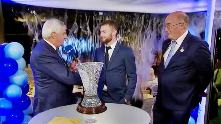 Jack McCaffrey and Michael Lyster soaked as Sunday Game interview goes badly, badly wrong