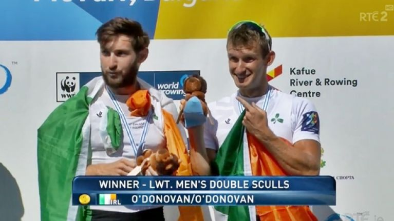 Gary and Paul O'Donovan deliver stirring speech after world championship win