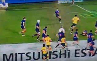 Israel Folau leaves a trail of Argentine defenders behind him to score ridiculous try