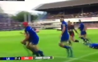 Johnny Sexton flattened by Ross Moriarty in yellow card late hit