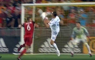 Zlatan Ibrahimovic scores with roundhouse kick to bring up 500th career goal