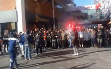 PSG Ultras charge into Liverpool city centre with flares