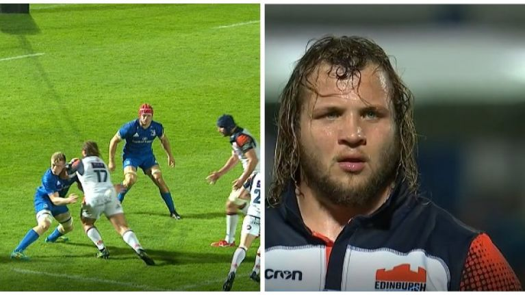 Watch: Edinburgh prop sent off for elbow on Leinster flanker Dan Leavy