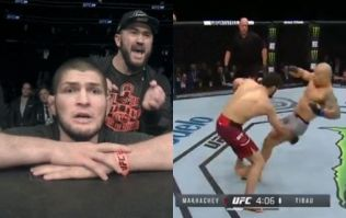 Khabib Nurmagomedov's reaction to Islam Makhachev's brutal knockout really said it all