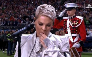 Pink spits chewing gum out before crushing Star Spangled Banner