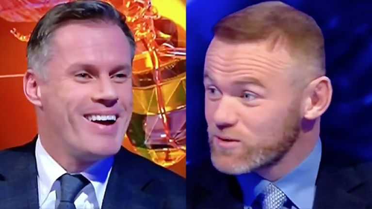 It only took Wayne Rooney a few seconds to take the piss out of Jamie Carragher on MNF