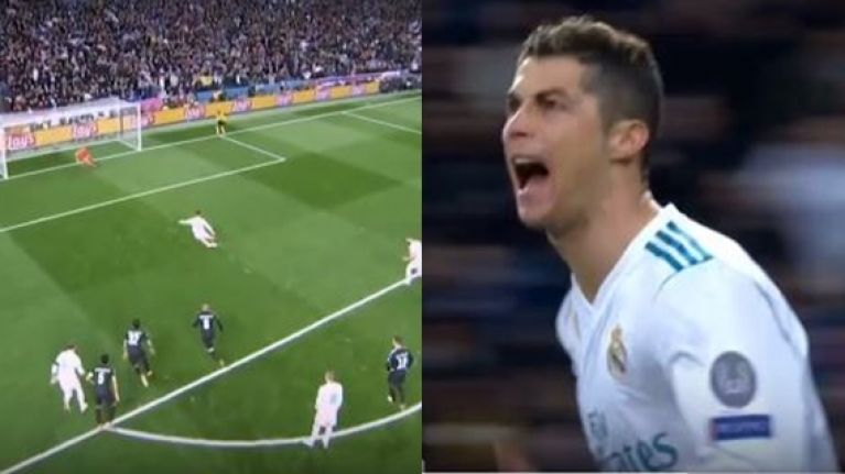 Cristiano Ronaldo scores penalty on the volley