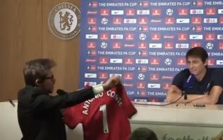 Antonio Conte pranked at press conference with signed Jose Mourinho United jersey
